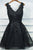 Black V Neck Homecoming Dresses,Appliques Beading Belt Short Prom Dress H162 - Ombreprom