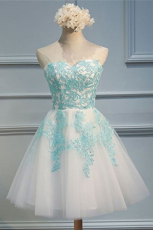 White Sweetheart Strapless Homecoming Dresses,Layers Tulle Appliques Short Prom Dress