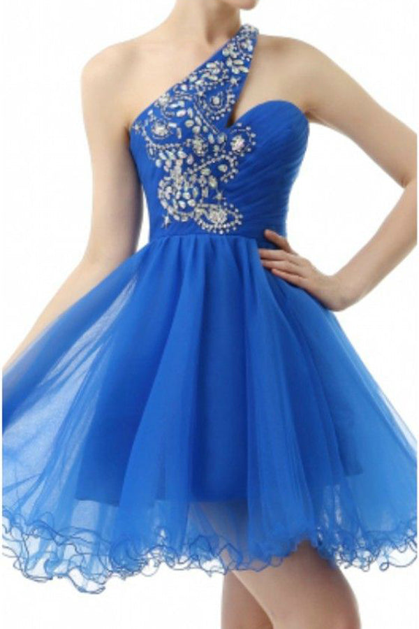 Blue One Shoulder Homecoming Dresses,Layers Tulle Sequins Beading Short Prom Dress H165 - Ombreprom