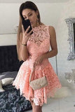 Pink Halter Sleeveless Homecoming Dresses,Lace Appliques Sheer Back Short Prom Dress
