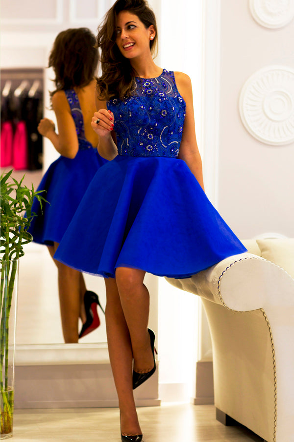 Blue Sleeveless Homecoming Dresses,Appliques Beading Open Back Short Prom Dress H168 - Ombreprom