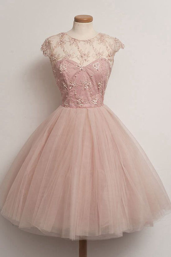 Pink Capped Sleeve Sheer Homecoming Dresses,Layers Tulle Beading Short Prom Dress H169 - Ombreprom