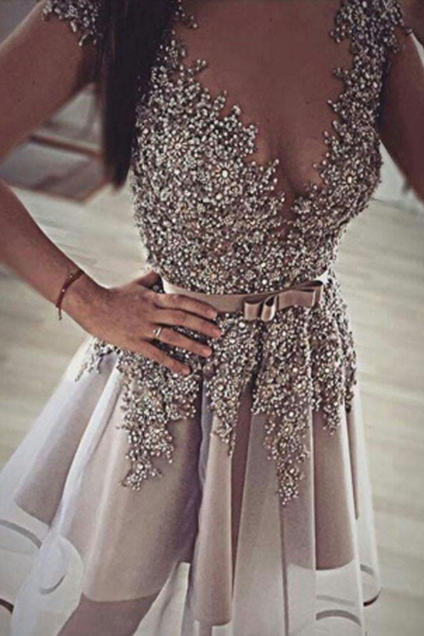 Deep V Neck Short Sleeve Homecoming Dresses,Sequins Beading Short Prom Dress