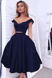 Attractive Two Piece Homecoming Dress,V Neck Satin Mid Prom Dress HCD100 - Ombreprom