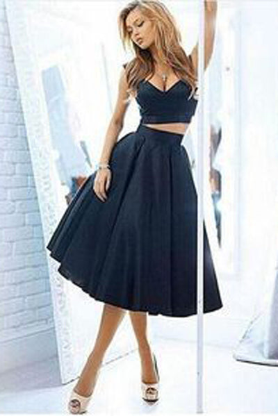 Attractive Two Piece Homecoming Dress,V Neck Satin Mid Prom Dress HCD100