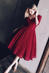 Charming Burgundy Red Half Sleeve Homecoming Dresses,Appliques Mid Prom Dress
