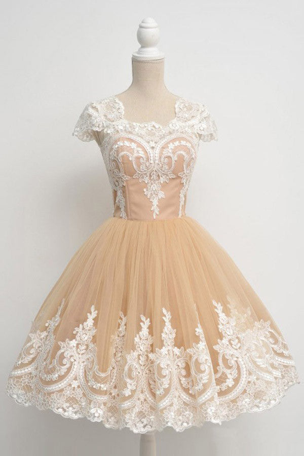 Elegant A Line Homecoming Dress,Classical Princess Ball Gown Beaed Short Prom Dresses