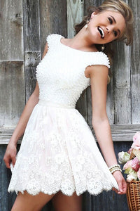 Princess Appliques Lace Homecoming Dresses, Scoop Beaded Irregular Short Prom Dress