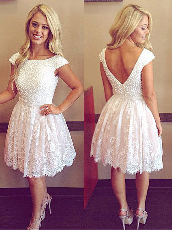 Princess Appliques Lace Homecoming Dresses, Scoop Beaded Irregular Short Prom Dress HCD109 - Ombreprom