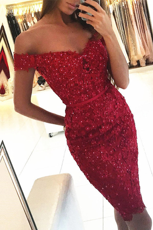 Sexy Red Beadings Off-the-Shoulder Appliques Homecoming Dress,Irregular Sheath Short Prom Dress