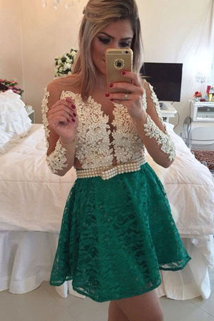 Sexy Deep V Neck Sheer Tulle Homecoming Dresses, Long Sleeve Short Prom Dress