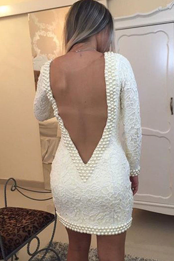 Sexy Deep V Neck Homecoming Dresses,Long Sleeves V Back Pearls Short Prom Dress HCD114 - Ombreprom