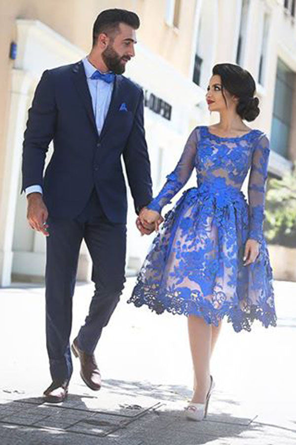 Elegant Royal Blue Long Sleeves Homecoming Dresses,Appliques Short Prom Dress