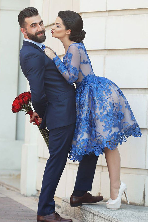 Elegant Royal Blue Long Sleeves Homecoming Dresses,Appliques Short Prom Dress HCD117 - Ombreprom