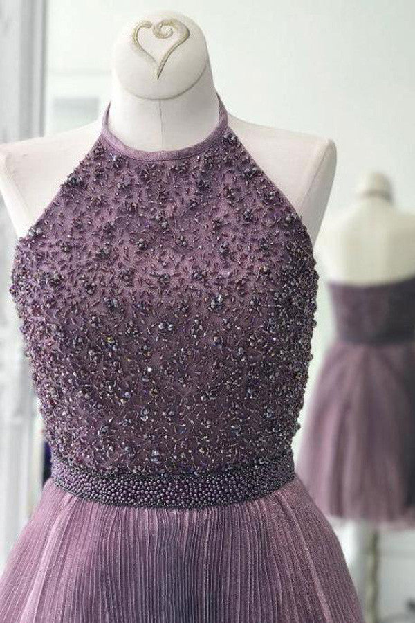 Purple Halter Homecoming Dresses,Scoop Beaded Open Back Short Prom Dress HCD119 - Ombreprom