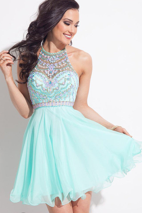 Light Blue Halter Homecoming Dresses,Sleeveless Sheer Back Beading Short Prom Dress