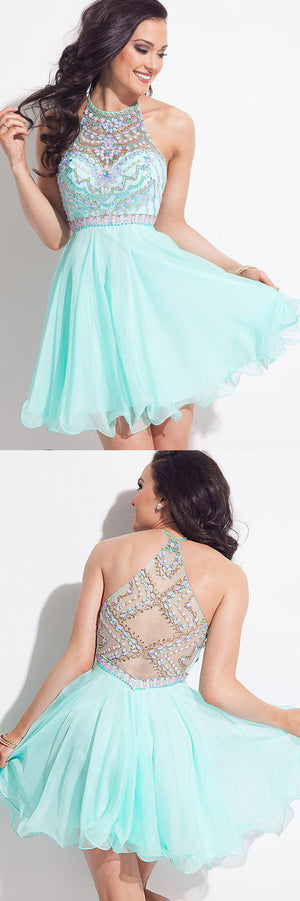 Light Blue Halter Homecoming Dresses,Sleeveless Sheer Back Beading Short Prom Dress HCD122
