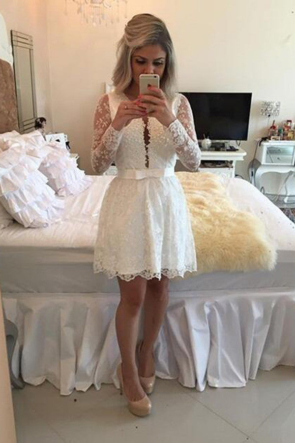 White Deep V Neck Homecoming Dresses,Long Sleeve Backless Appliques Short Prom Dress