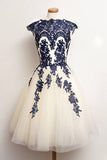 White Boat Capped Sleeve Homecoming Dresses,Lace Up Blue Appliques Short Prom Dress
