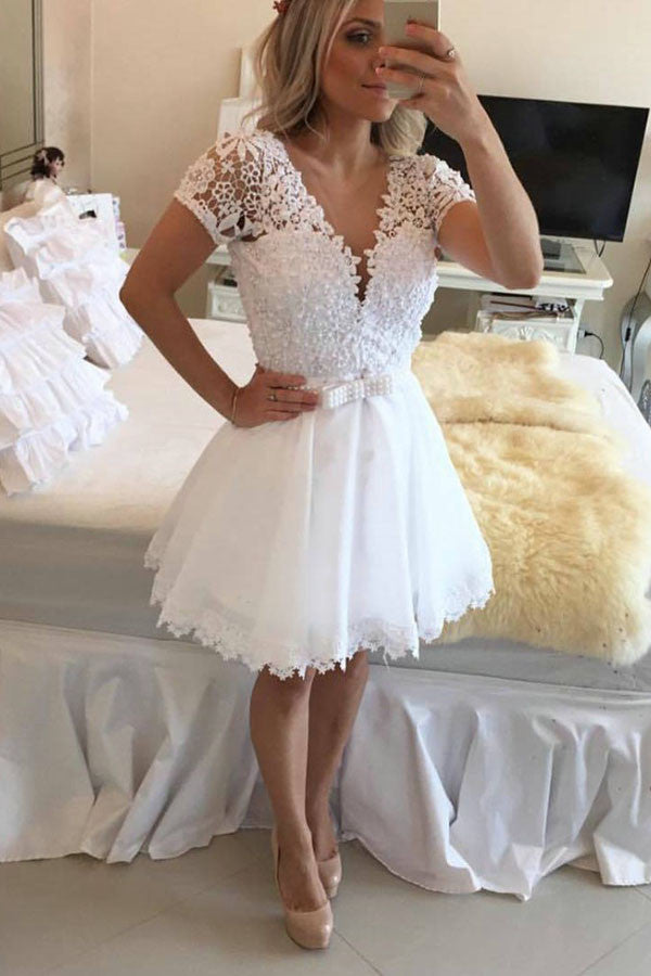 White Deep V Neck Homecoming Dresses,Short Sleeve Appliques Pearl Beading Short Prom Dress