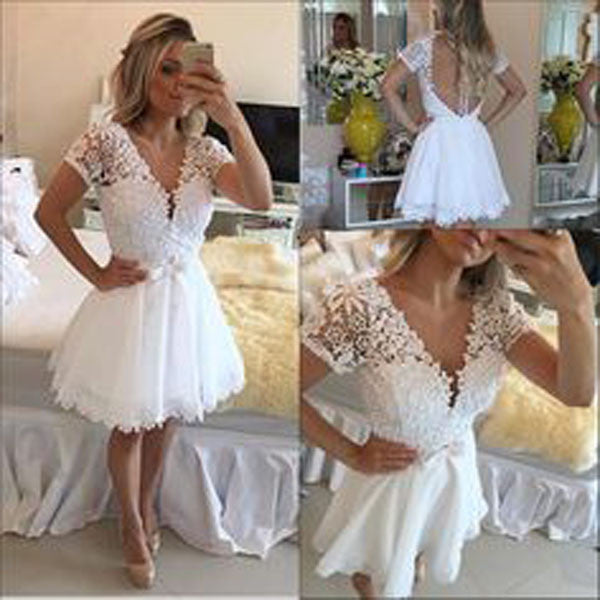 White Deep V Neck Homecoming Dresses,Short Sleeve Appliques Pearl Beading Short Prom Dress HCD127