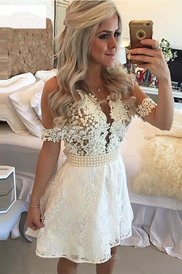 White Deep V Neck Homecoming Dresses,Short Sleeve Appliques Pearl Beading Belt Short Prom Dress