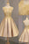 A-Line Top See-through Homecoming Dress,Gold Satin Lace Short Prom Dress2017,New Arrival HCD12 - Ombreprom