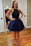 Royal Blue Halter Homecoming Dresses,Open Back Sequins Beading Short Prom Dress
