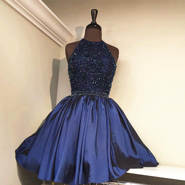 Royal Blue Halter Homecoming Dresses,Open Back Sequins Beading Short Prom Dress HCD130 - Ombreprom