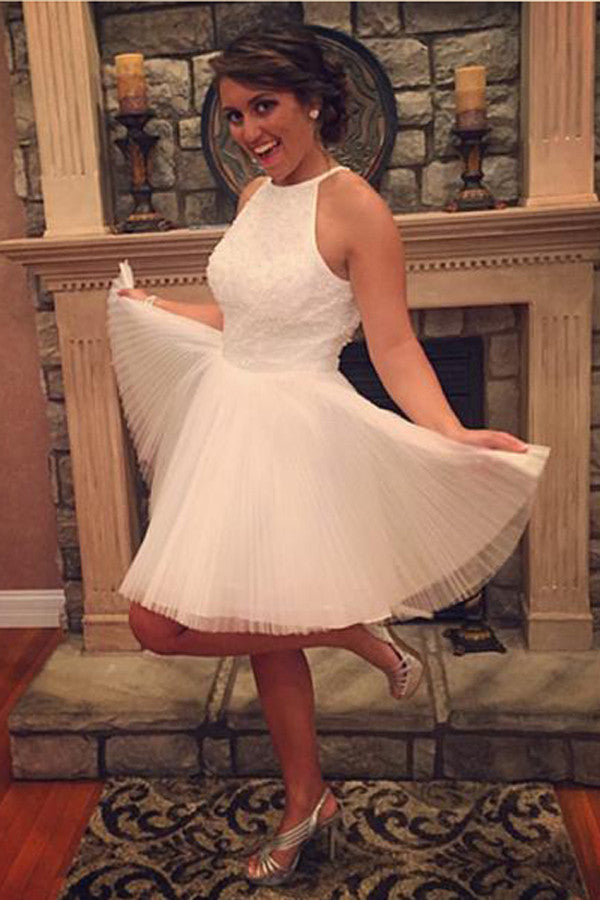 White Halter Homecoming Dresses,Keyhole Back Beading Short Prom Dress