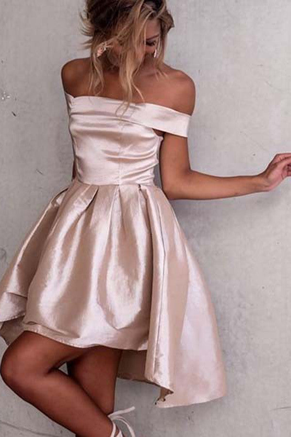 Pink Off Shoulder Homecoming Dresses,Mid Back High Low Stain Short Prom Dress
