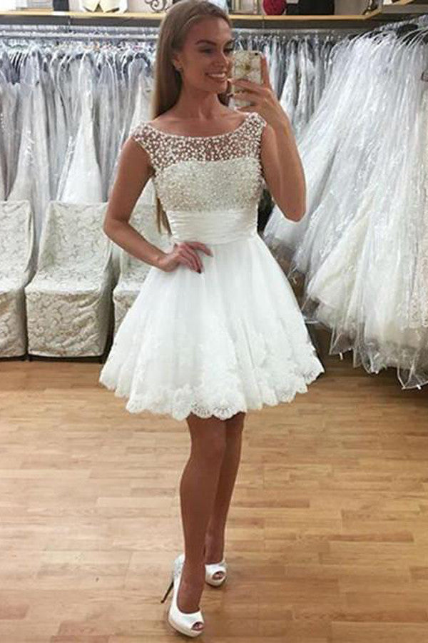 White Sheer Lace Appliques Homecoming Dresses,Pearls Beading Short Prom Dress