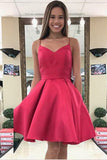 Red Sweetheart Spaghetti Homecoming Dresses,Open Back With Bowknot Short Prom Dress