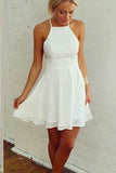 White Halter Sleeveless Homecoming Dresses,Tie Back Chiffon Short Prom Dress