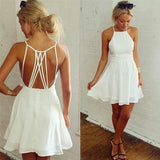 White Halter Sleeveless Homecoming Dresses,Tie Back Chiffon Short Prom Dress HCD138