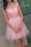 Pink Sheer Capped Sleeve Homecoming Dresses,Layers Tulle Appliques Beading Short Prom Dress