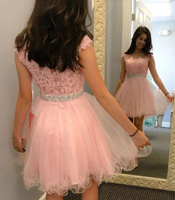 Pink Sheer Capped Sleeve Homecoming Dresses,Layers Tulle Appliques Beading Short Prom Dress HCD139 - Ombreprom