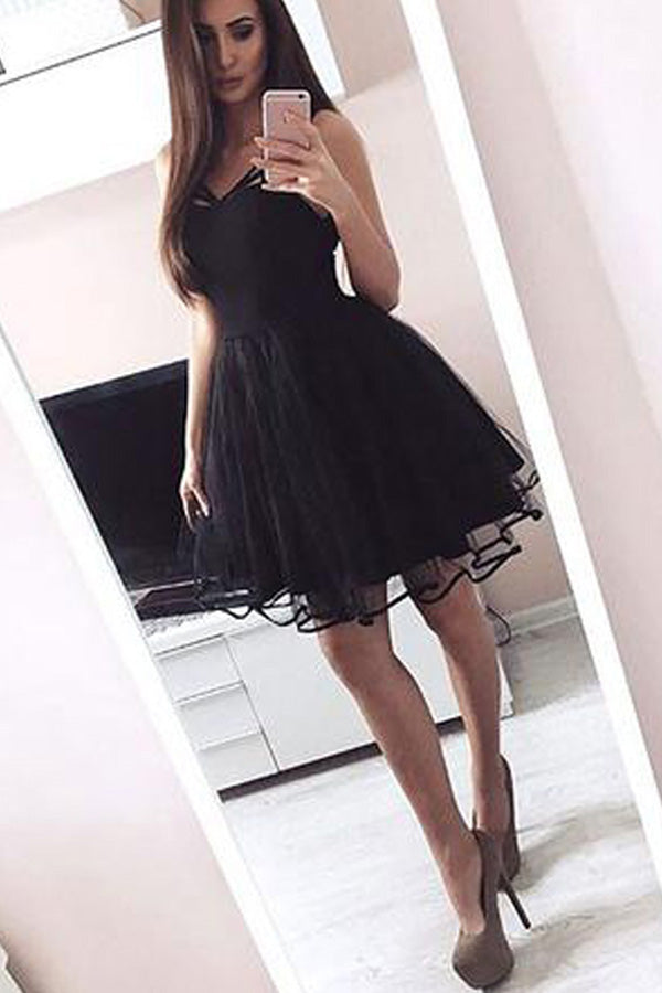 A-Line Lace-Up Black Homecoming Dress Simple Short Prom Dress 2017, New Arrival HCD13 - Ombreprom