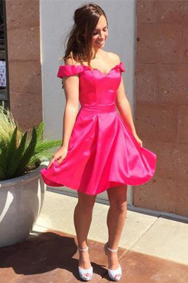Red Off Shoulder Homecoming Dresses,Sweetheart Stain Short Prom Dress,Party Dress HCD140 - Ombreprom