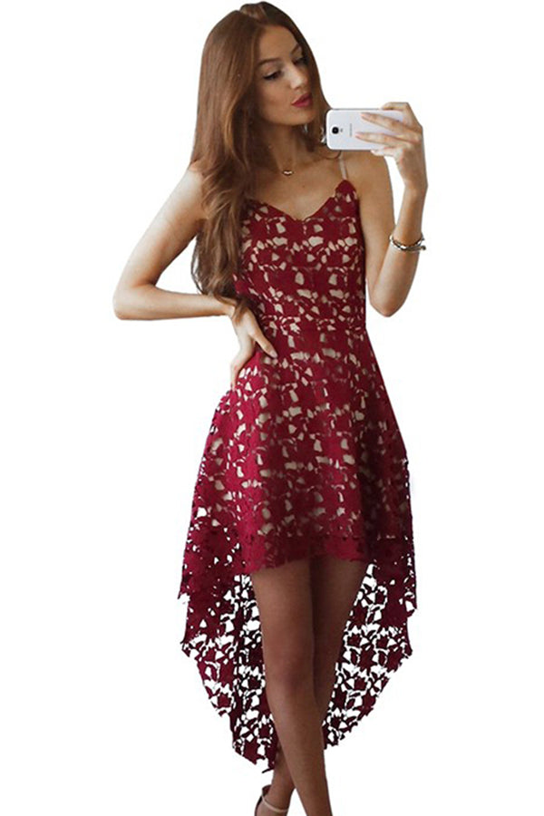 Red Sweetheart Spaghetti High Low Homecoming Dresses,Hollow Short Prom Dress