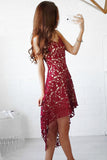 Red Sweetheart Spaghetti High Low Homecoming Dresses,Hollow Short Prom Dress HCD142 - Ombreprom