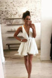 Simple White Deep V Neck Homecoming Dresses,Open Back Short Prom Dress