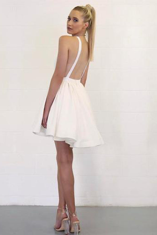 Simple White Deep V Neck Homecoming Dresses,Open Back Short Prom Dress HCD141