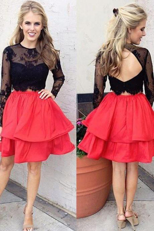 Two Piece Long Sleeve Sheer Homecoming Dresses,Keyhole Back Short Prom Dress