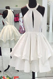 A-line Sleeveless Homecoming Dress,White Stain Halter Simple Short Prom DressHCD14 - Ombreprom