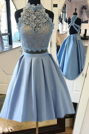 Blue Halter Two Piece Homecoming Dresses,Open Back Appliques Short Prom Dress,Party Dress HCD154 - Ombreprom