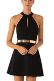Black Sheath Halter Homecoming Dresses,Sleeveless Sheer Back Gold Belt Short Prom Dress HCD155 - Ombreprom