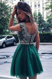 Green Scoop Homecoming Dresses,Sleeveless Open Back Beading Short Prom Dress