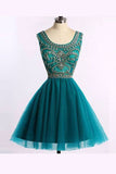 Green Scoop Homecoming Dresses,Sleeveless Open Back Beading Short Prom Dress HCD156