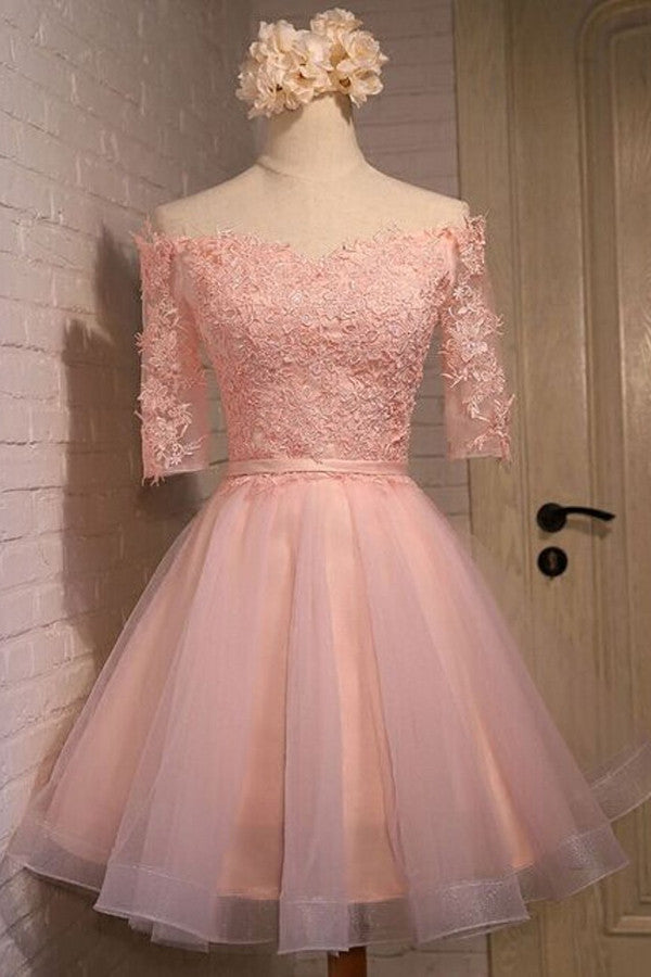 Pink Off Shoulder Homecoming Dresses,Half Sleeve Appliques Short Prom Dress